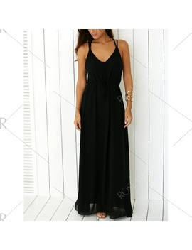 Criss Floor Length Open Back Prom Dress   Black L by Rosewholesale