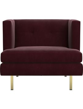 Avec Bergamot Purple Chair With Brass Legs by Crate&Barrel