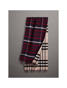 Check Wool Cashmere Oversize Scarf by Burberry