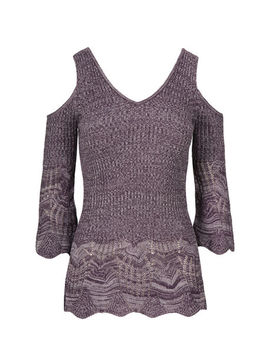 Cold Shoulder Ribbed Pointelle Pullover by Ricki's