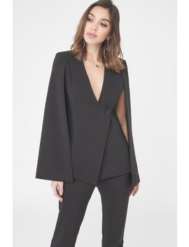 Asymmetric Hem Fitted Cape Blazer by Lavish Alice