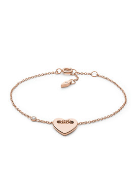 Heart Rose Gold Tone Steel Bracelet by Fossil