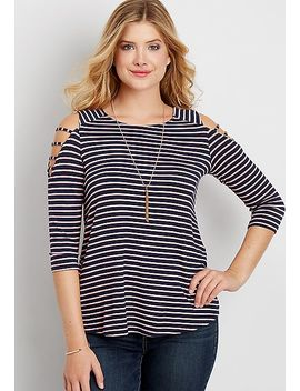 The 24/7 Striped Tee With Strappy Cold Shoulders by Maurices