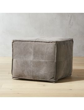 Grey Suede Pouf by Crate&Barrel