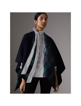 Reversible Cropped Tartan Wool Poncho by Burberry