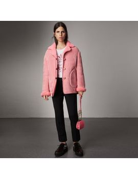 Leather Trim Shearling Oversized Jacket by Burberry
