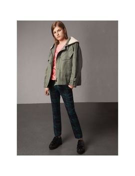 Ramie Cotton Jacket With Shearling Warmer by Burberry
