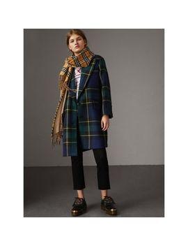 Lightweight Tartan Wool Tailored Coat by Burberry