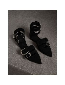 Buckle Detail Suede Point Toe Flats by Burberry
