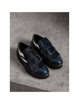 Two Tone Lace Up Kiltie Fringe Leather Shoes by Burberry