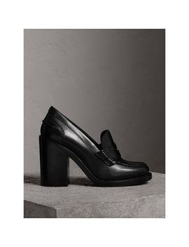 Leather Block Heel Penny Loafers by Burberry