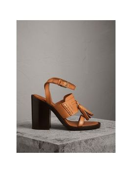 Tasselled Leather Block Heel Sandals by Burberry