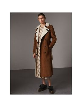 Raglan Sleeve Suede And Shearling Trench Coat by Burberry