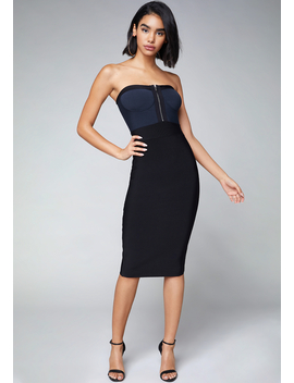 Zip Front Strapless Dress by Bebe