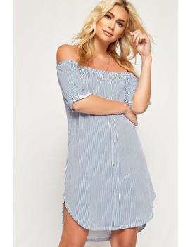 Aria Striped Off Shoulder Curved Hem Shirt Dress by Wear All