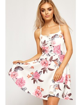 Titania Strappy Floral Lace Up Bust Skater Dress by Wear All