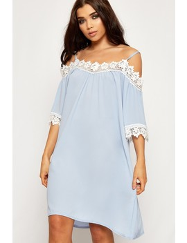 Maria Lace Trim Cold Shoulder Strappy Crepe Dress by Wear All