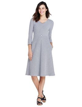 Women's 3/4 Sleeve Ponte Aline Dress by Lands' End