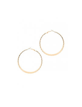 Flat And Etched Hoop Earrings In Gold by Wet Seal