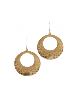 Textured Hoop Earrings In Gold Tone. by Wet Seal