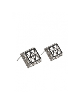 Square Stud Earrings In Silver by Wet Seal