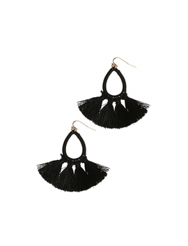 Tassel Earrings In Black by Wet Seal