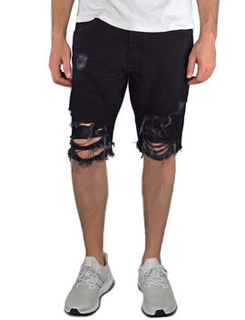 The Ripped Jean Shorts In Black by Enslaved