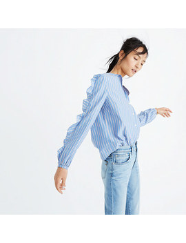 Striped Frill Sleeve Shirt by Madewell