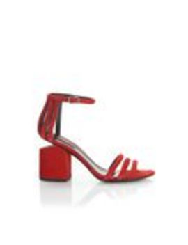 Cage Abby Suede Sandal With Rhodium by Alexander Wang