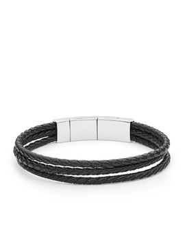 Black Multi Strand Leather Bracelet by Fossil