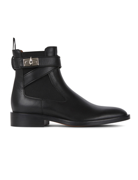 Black Leather Ankle Boots by Choies