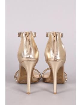Anne Michelle Rhinestone Accent Ankle Strap Heel by Urbanog