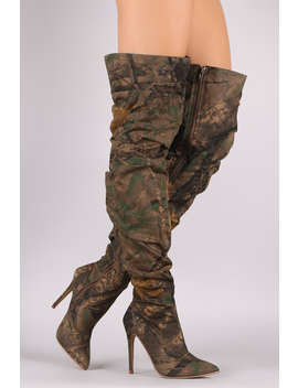 Liliana Camouflage Slouchy Pointy Toe Over The Knee Stiletto Boots by Urbanog