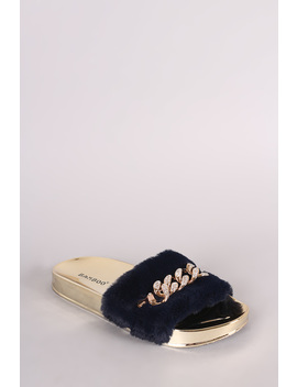 Bamboo Shiny Rhinestone Chain Faux Fur Slide Sandal by Urbanog