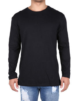 The Shift Zipper Long Sleeve Long Tee In Black by Threadhitter