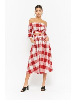 gingham-crop-top-&-midi-skirt-set by forever-21