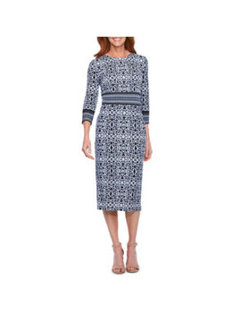 Liz Claiborne 3/4 Sleeve Scroll Sheath Dress by Liz Claiborne