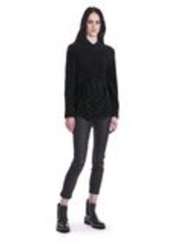 Twist Front Short Sleeve Cropped Sweater by Alexander Wang