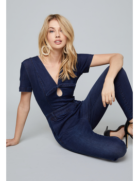 Bow Deep V Jumpsuit by Bebe