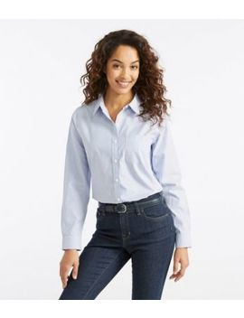 Wrinkle Free Pinpoint Oxford Shirt, Long Sleeve Relaxed Fit Stripe by L.L.Bean