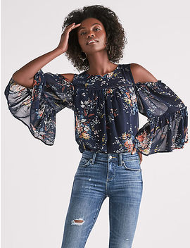 Printed Cold Shoulder Top by Lucky Brand