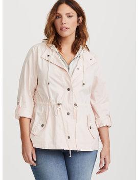 Pink Twill & Jersey Anorak Jacket by Torrid