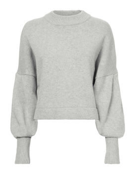 Pleated Sleeve Cropped Sweater by Tibi