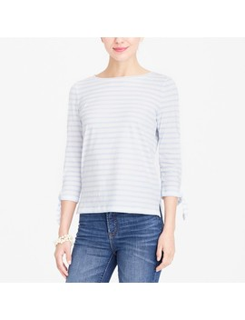 Striped Tie Sleeve T Shirt by J.Crew