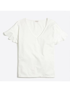 Flutter Sleeve V Neck T Shirt by J.Crew