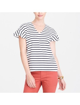 Striped Flutter Sleeve V Neck T Shirt by J.Crew