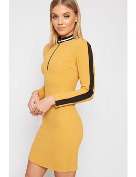 Alexia Striped Collar Zip V Neck Mini Dress by Wear All
