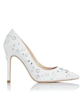 Fern Ivory Satin Crystals Closed Courts by L.K.Bennett