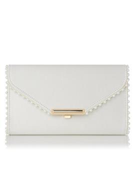 Sissi Ivory Satin Clutch Bag by L.K.Bennett