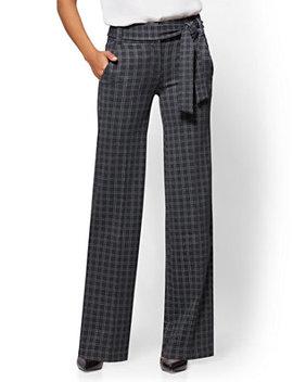 7th Avenue Pant   Wide Leg   Ponte   Grey Plaid by New York & Company